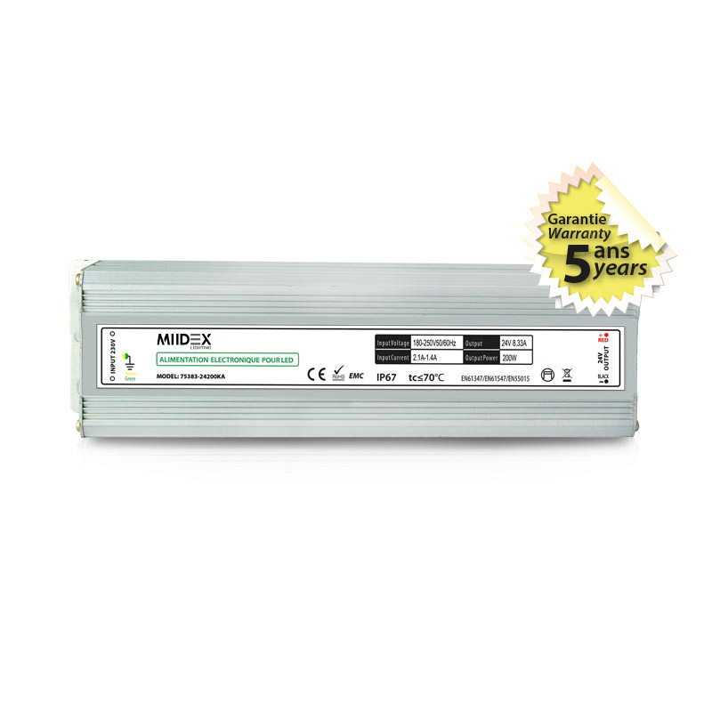 Voeding voor LED 200W 24V DC IP67